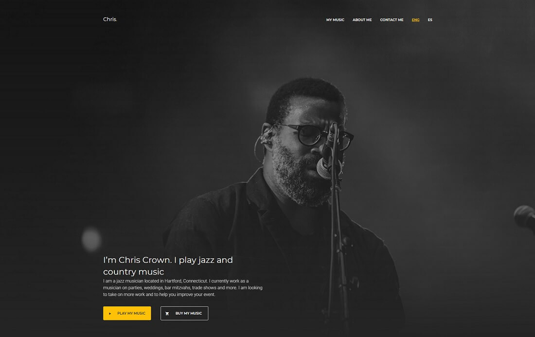 chris musician website template