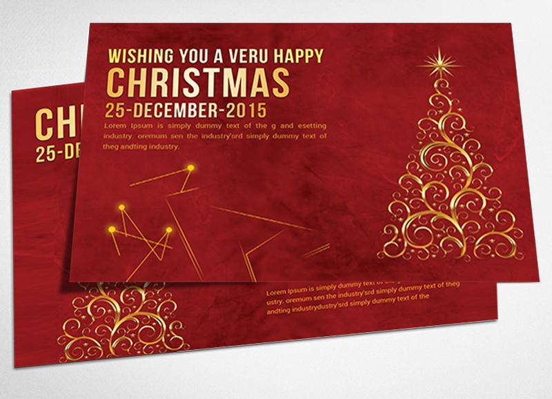 christmas postcard psd templates