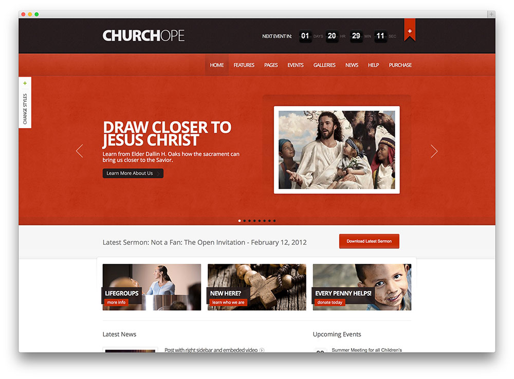 churchope modern church wordpress theme