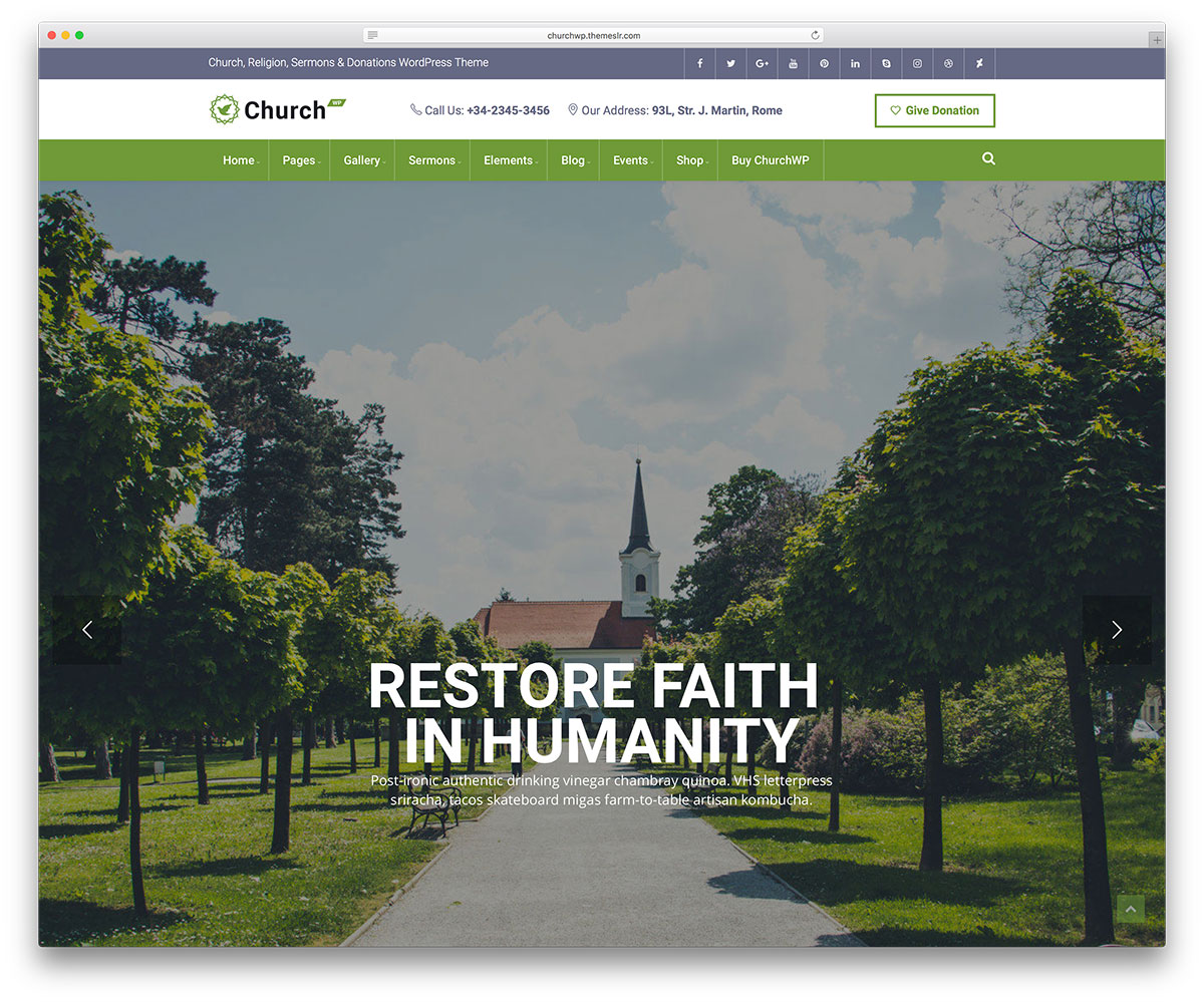 Church WP - sermons, events WordPress theme