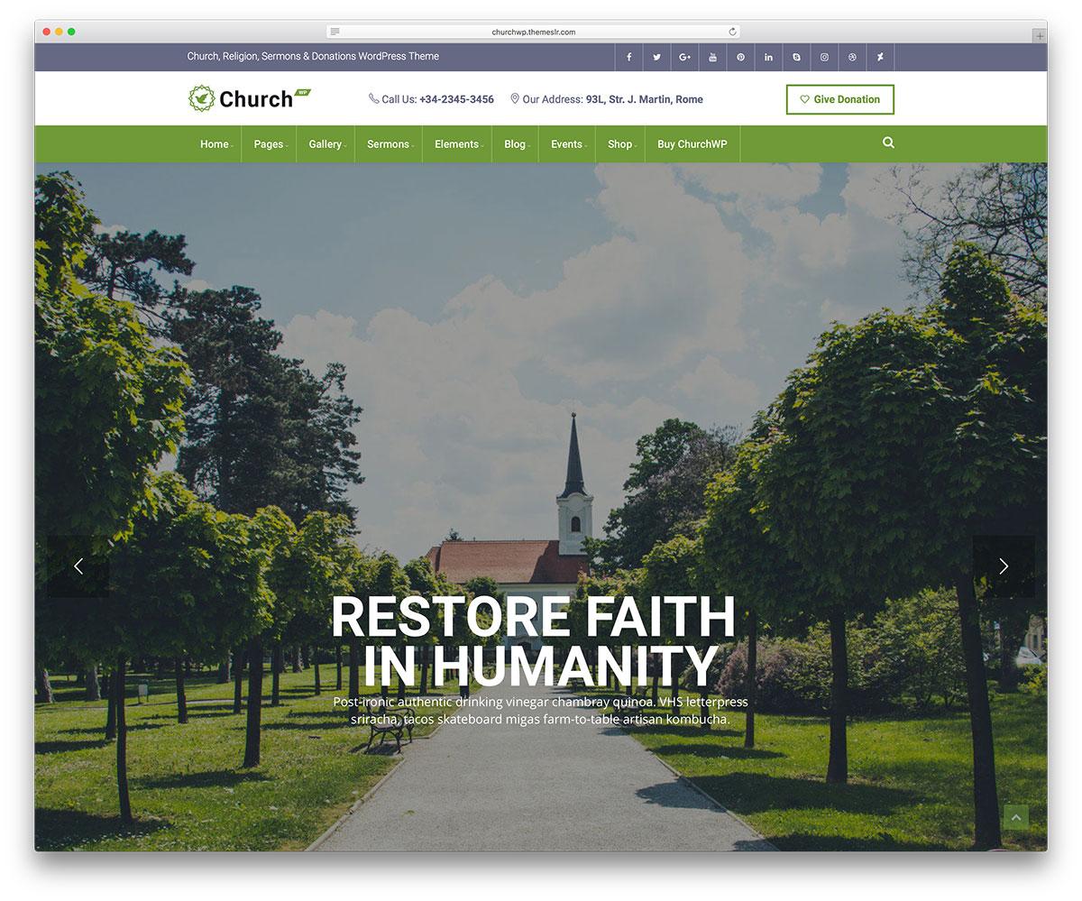 Church WP - sermons, events WordPress theme