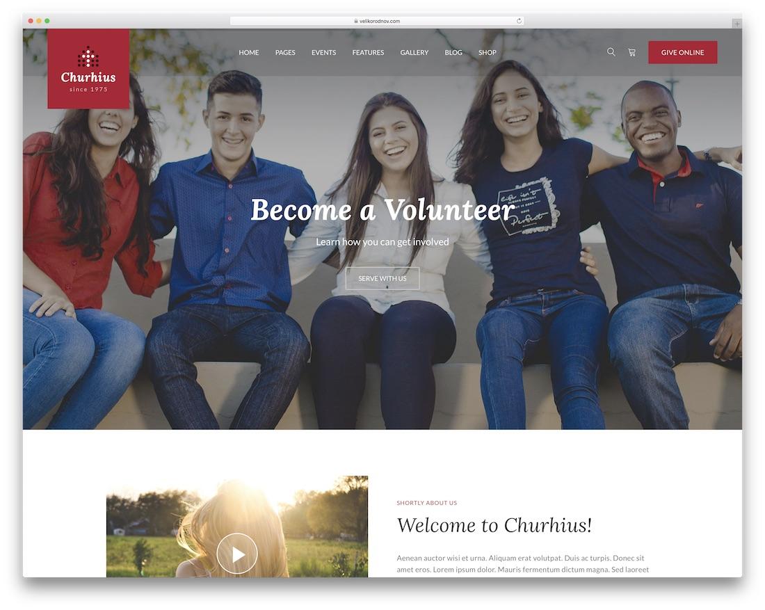 churhius website template