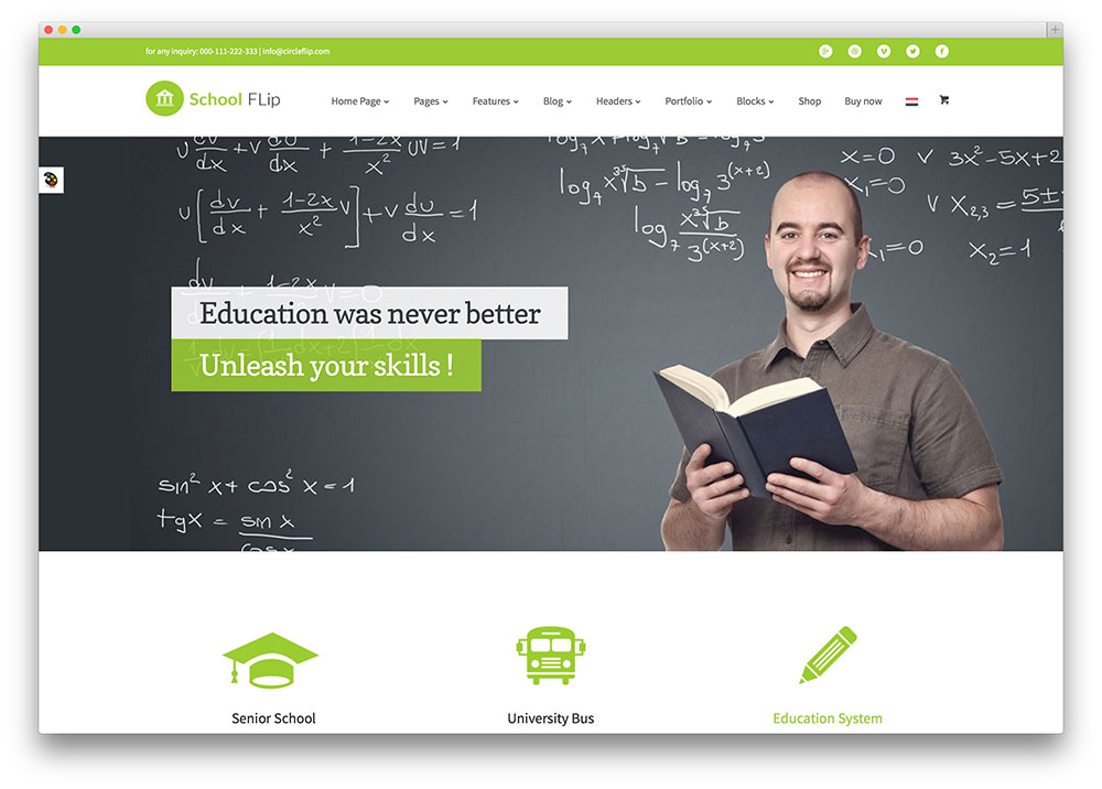 circle flip - education WordPress theme