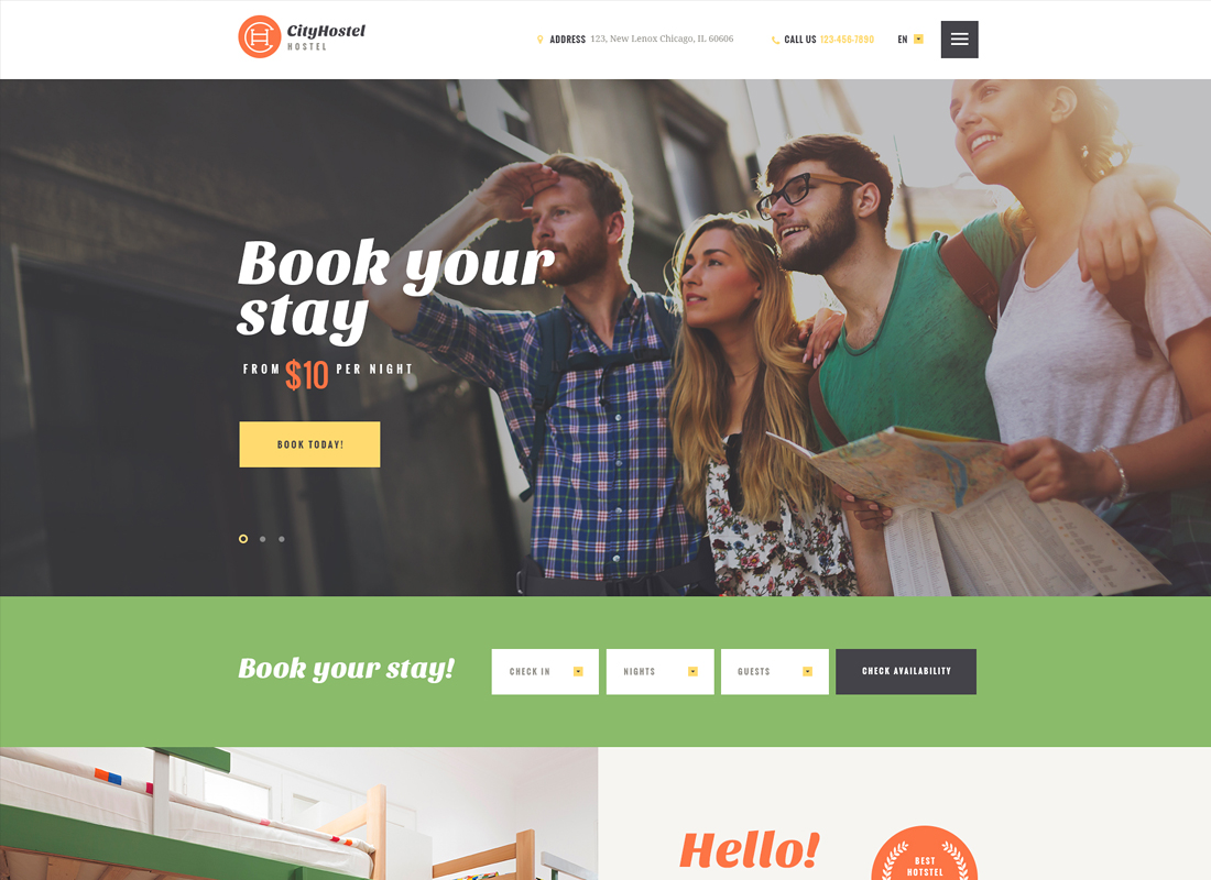 City Hostel | A Travel & Hotel Booking WordPress Theme