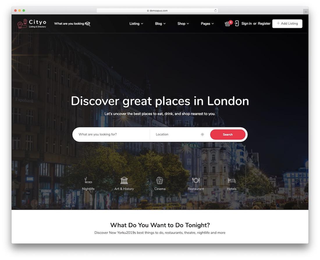 cityo wordpress classifieds directory theme