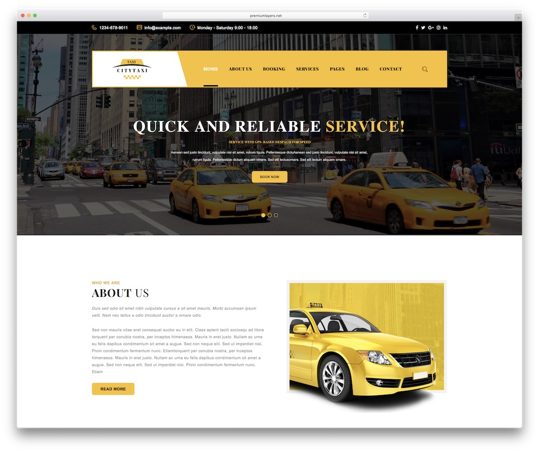 citytaxi automotive website template