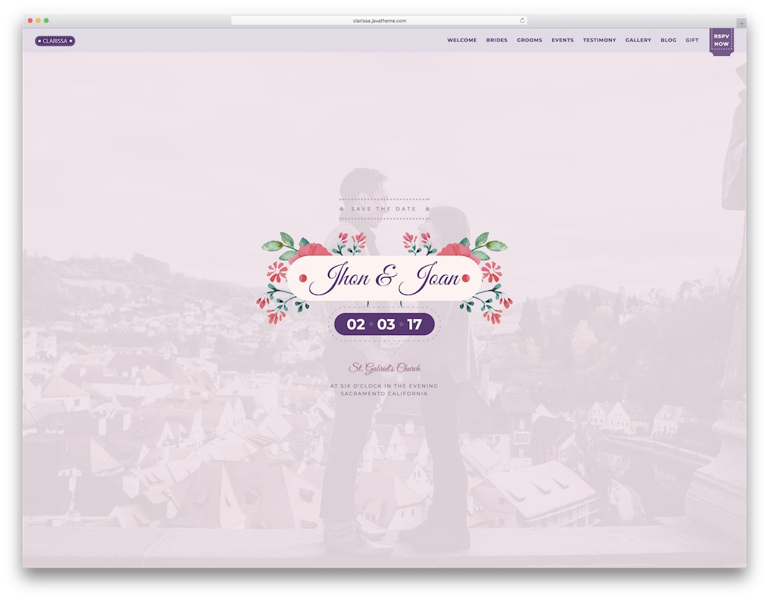 clarissa html wedding website template