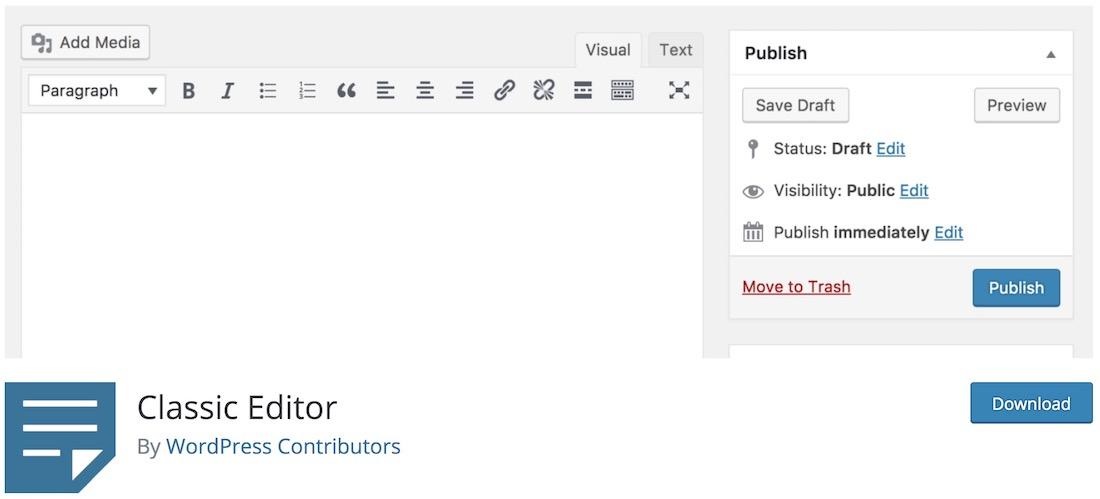 classic editor essential free wordpress plugin