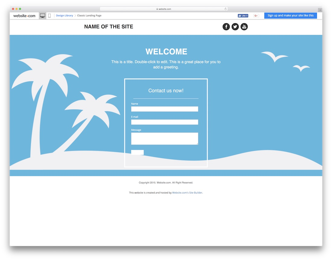 classic landing page blank website template