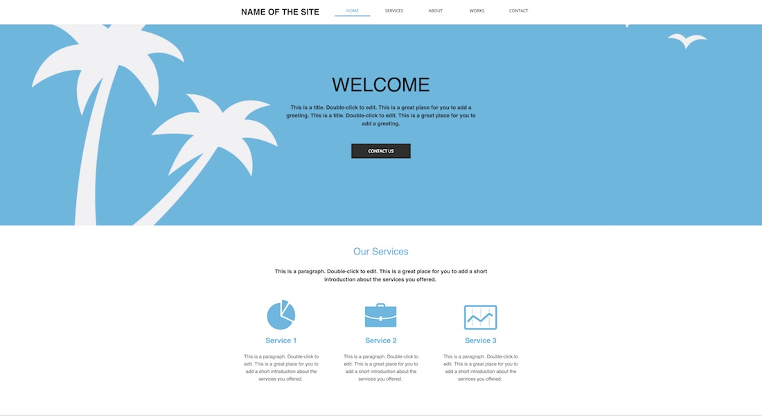 classic one pager blank website template