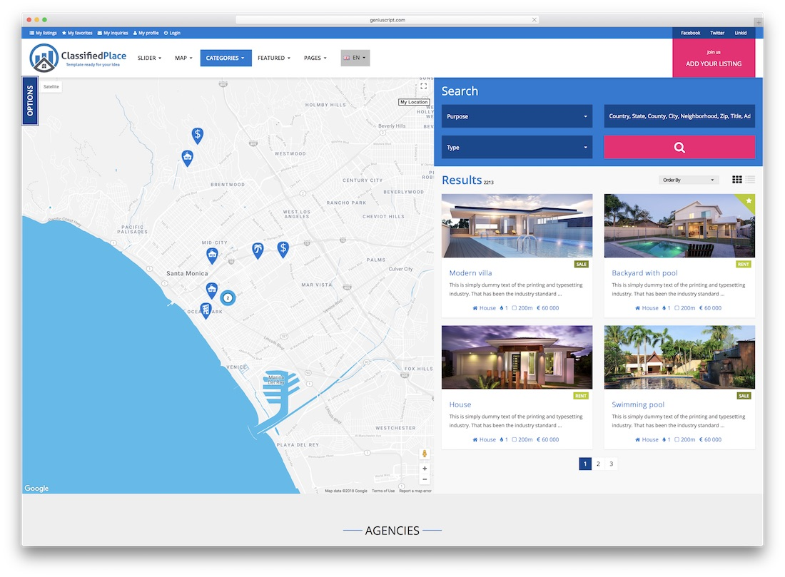 classified place real estate website template