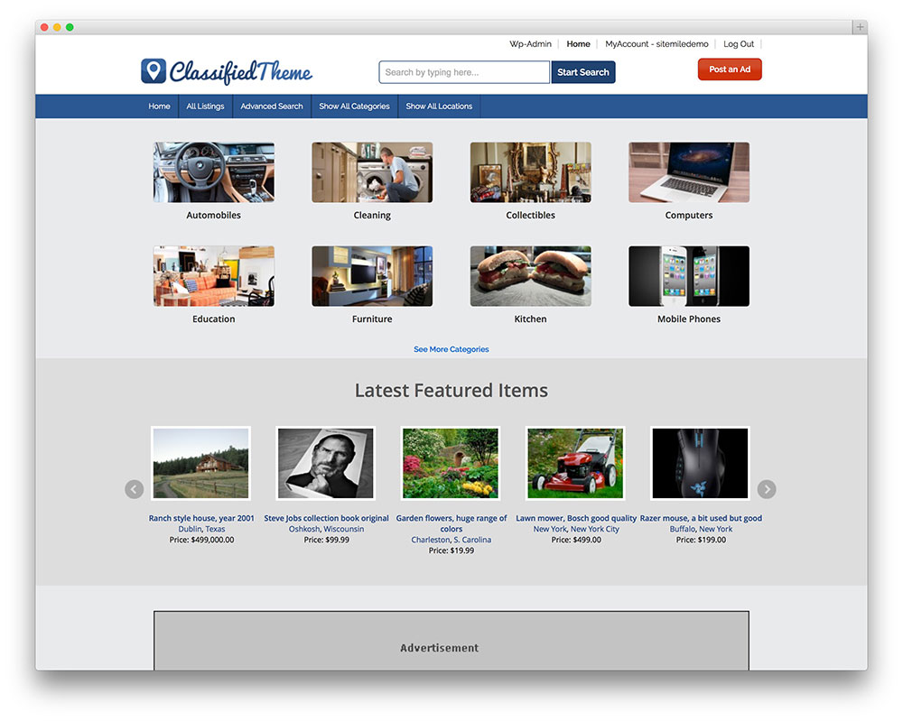 classified - Responsive wordpress theme