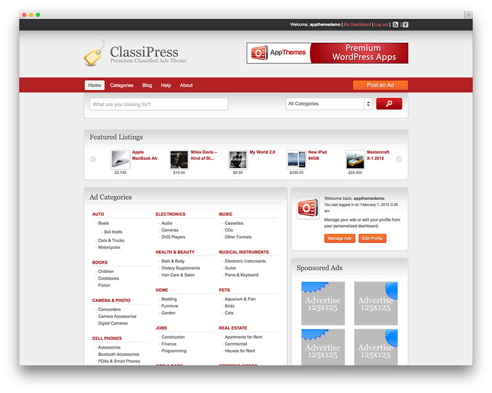 classipress vintage classified ads theme