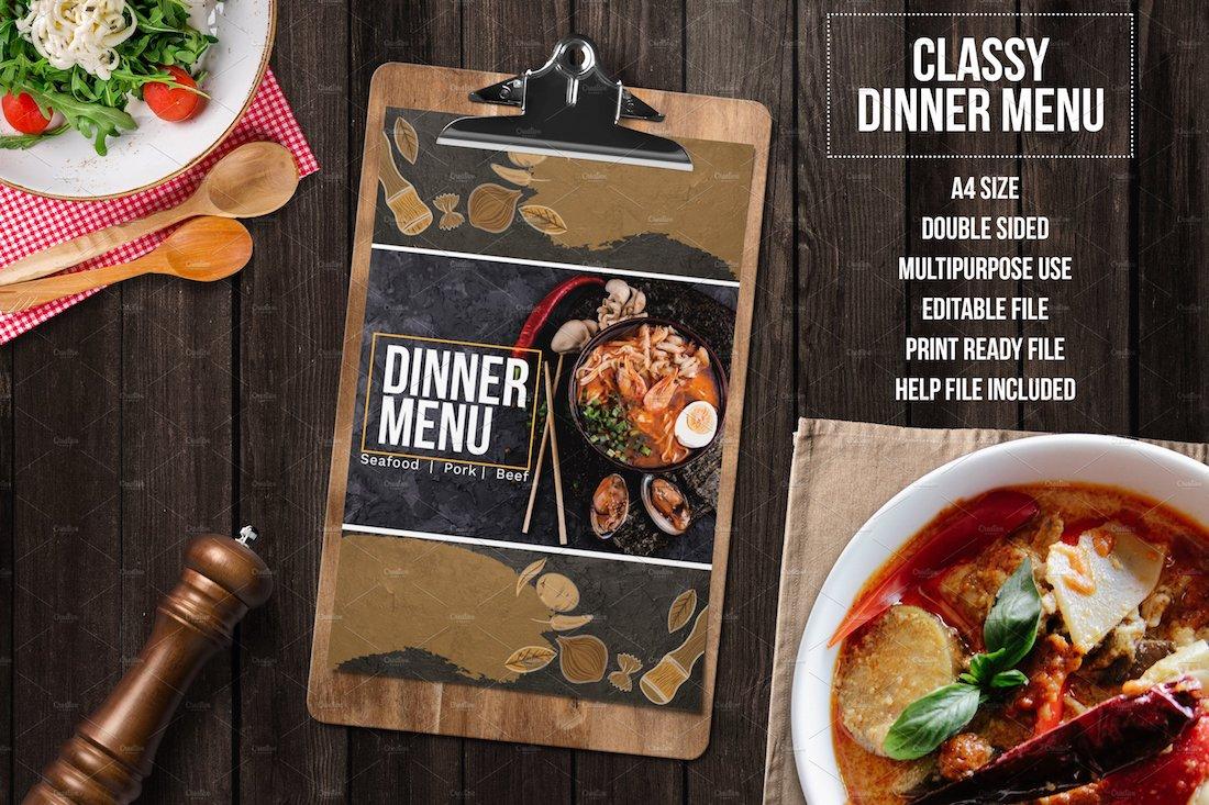 classy dinner menu