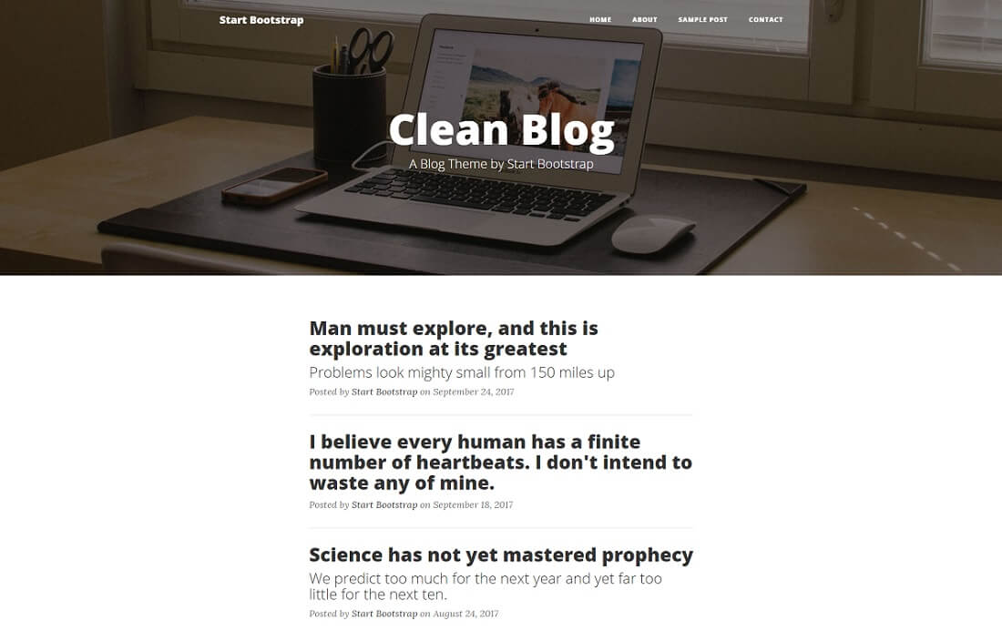 clean blog free bootstrap 4 website template