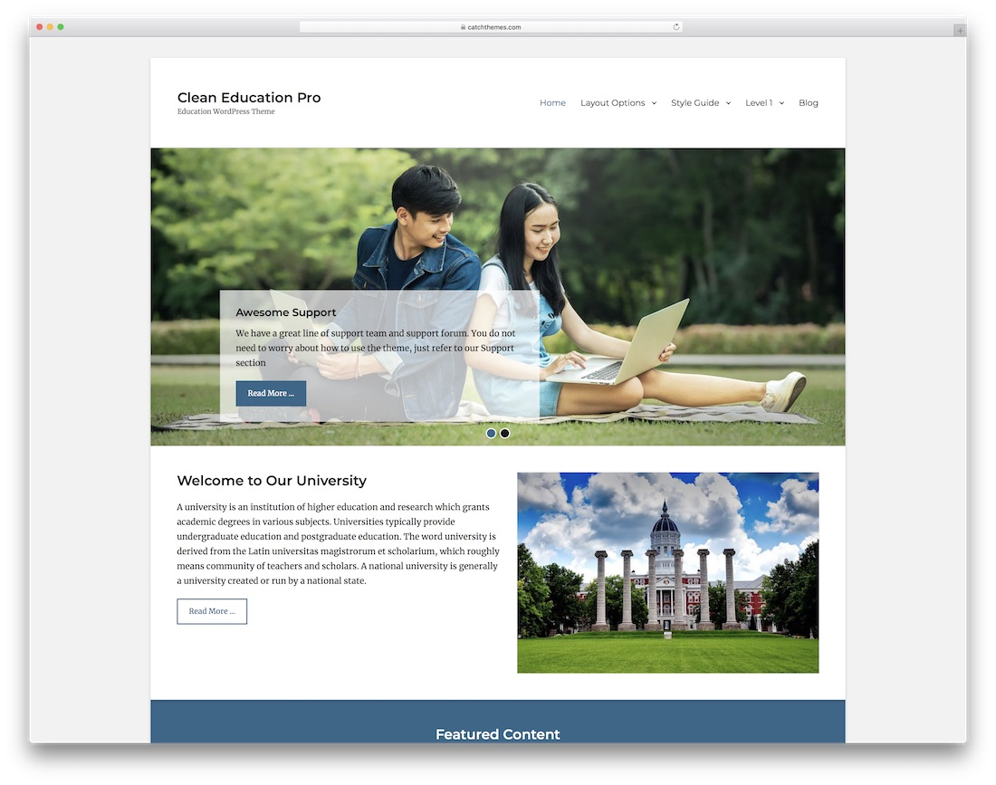 clean education free website template
