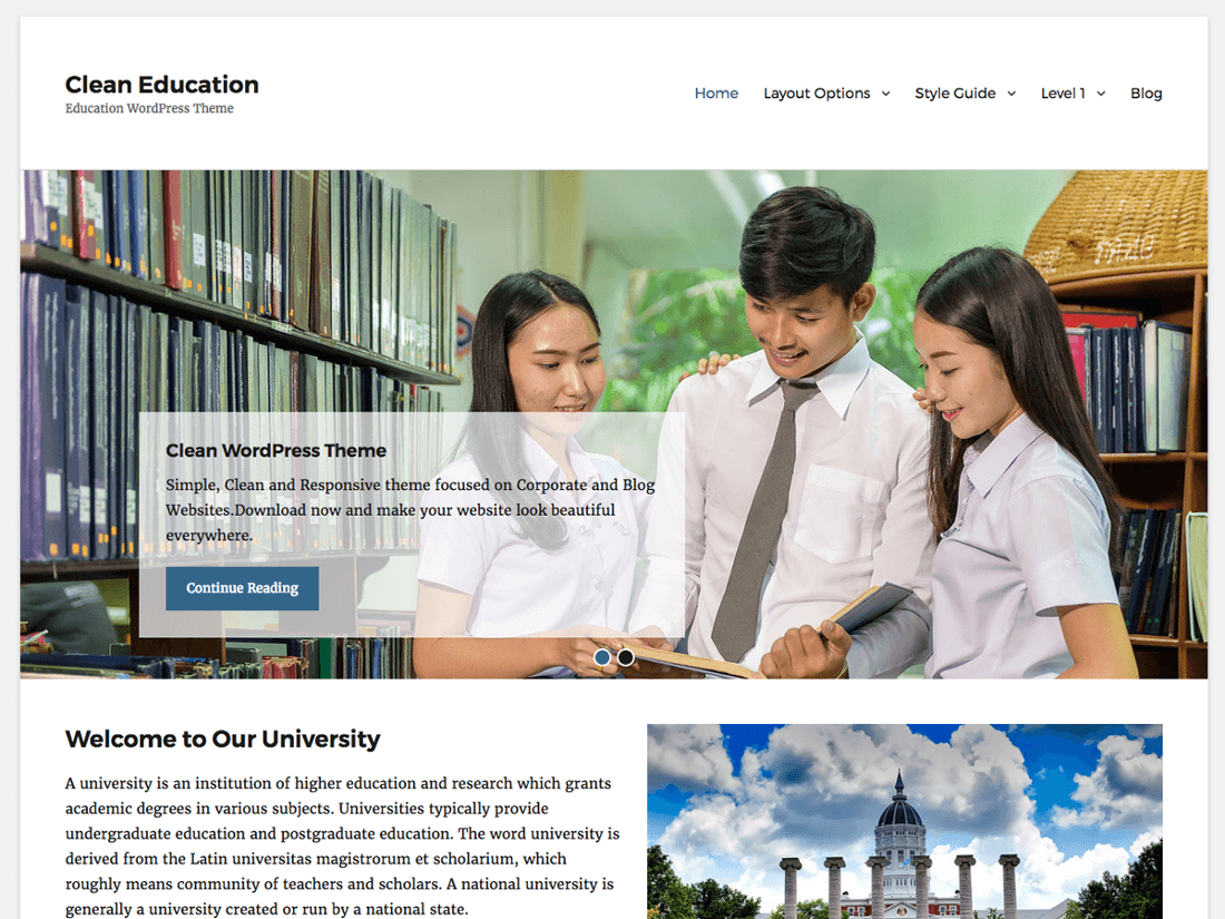 Clean Education WordPress Education Theme