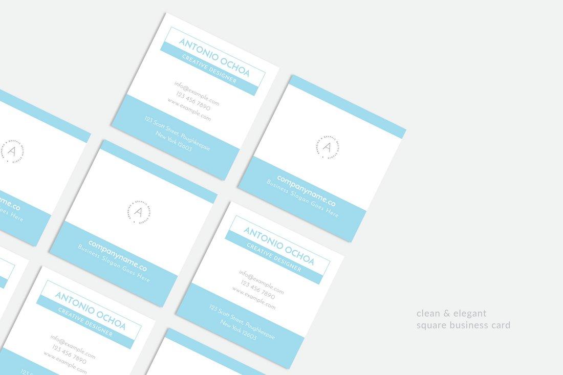 clean elegant square business card