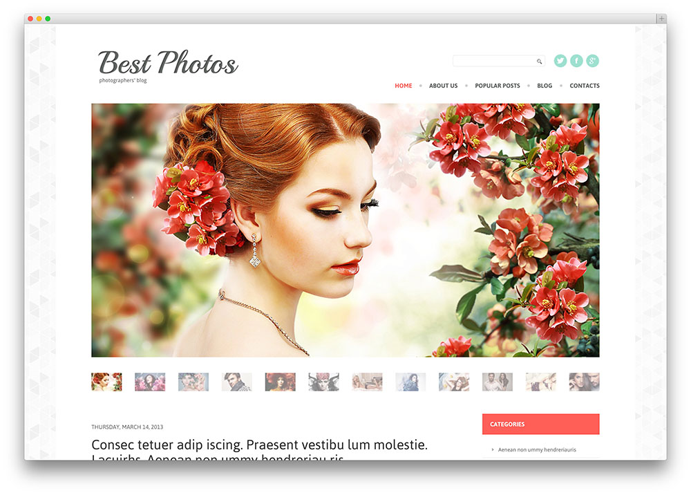 Clean photography blog theme
