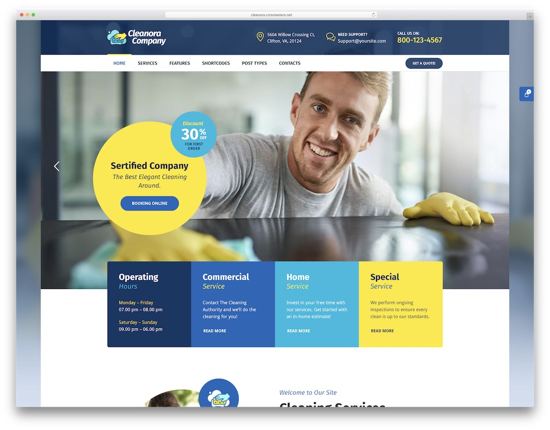 cleanora cleaning company theme