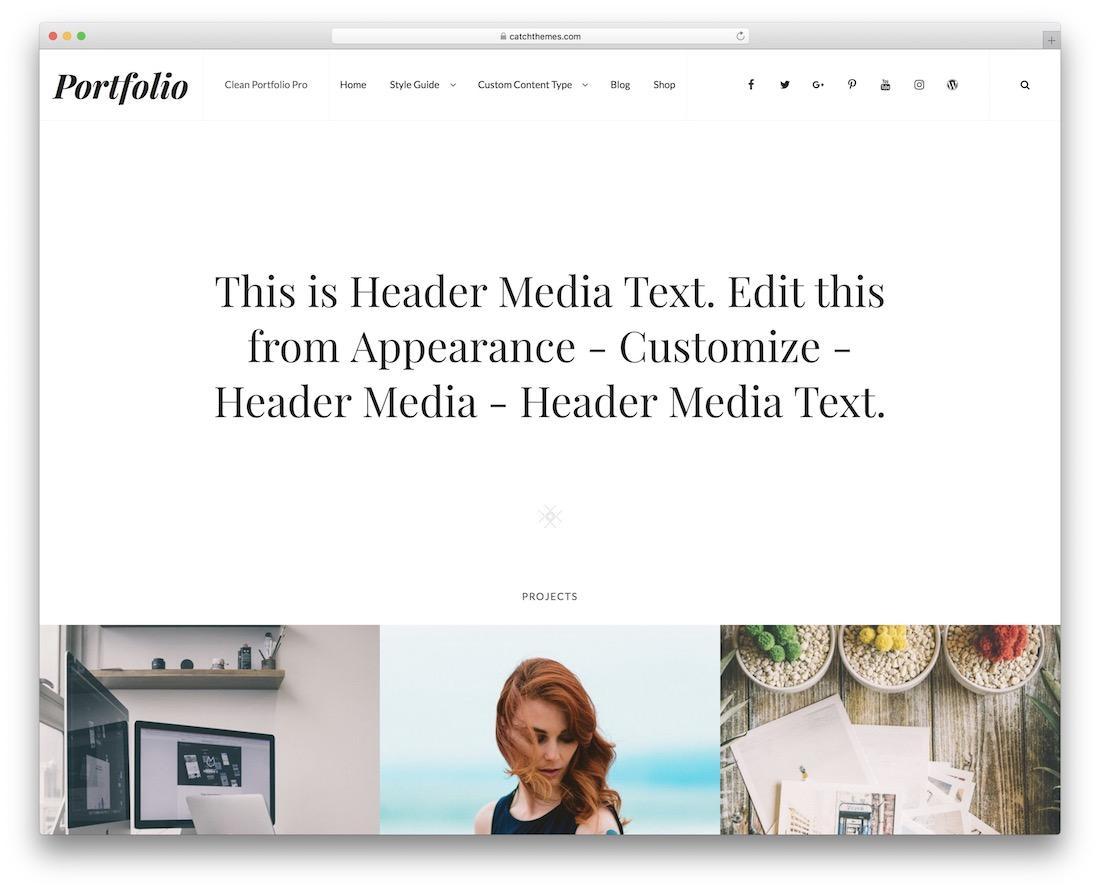 cleanportfolio free gallery wordpress theme