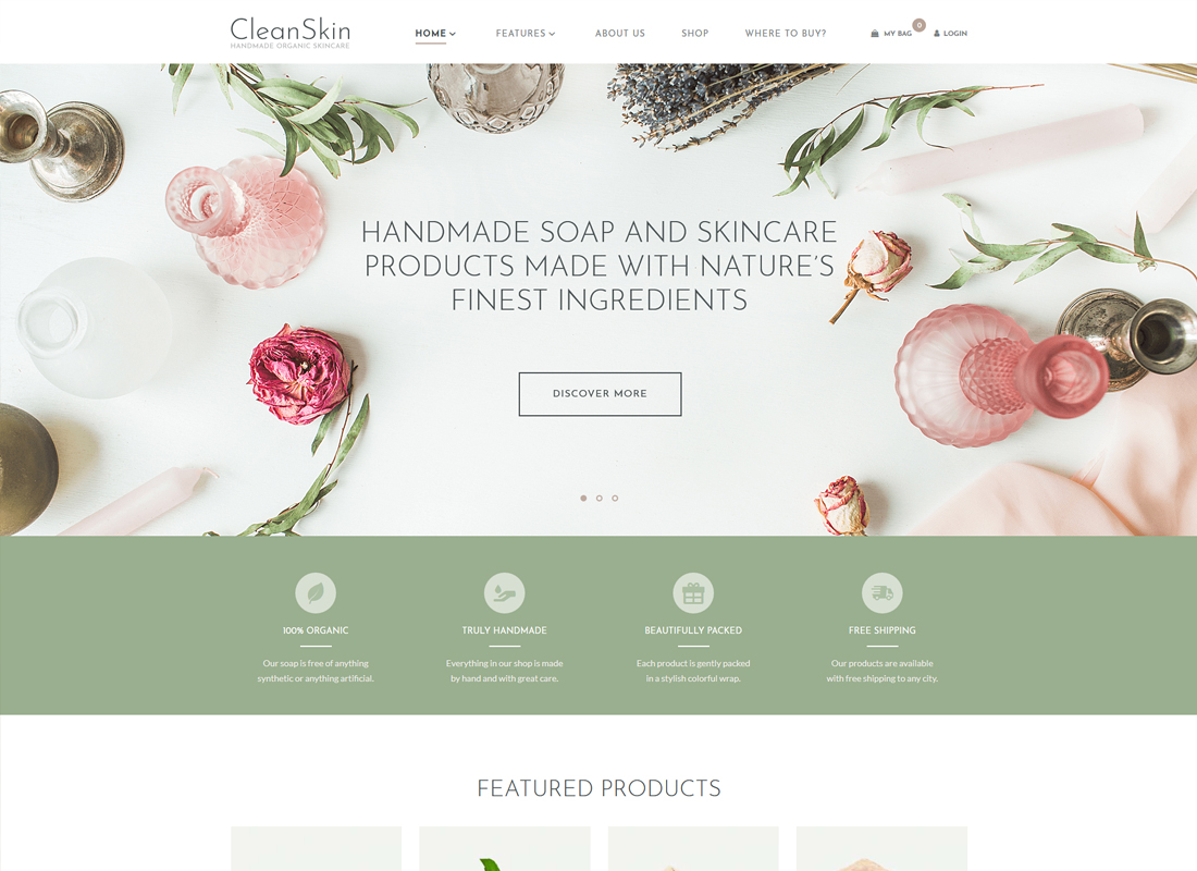 CleanSkin - Handmade Organic Soap & Natural Cosmetics Shop WordPress Theme