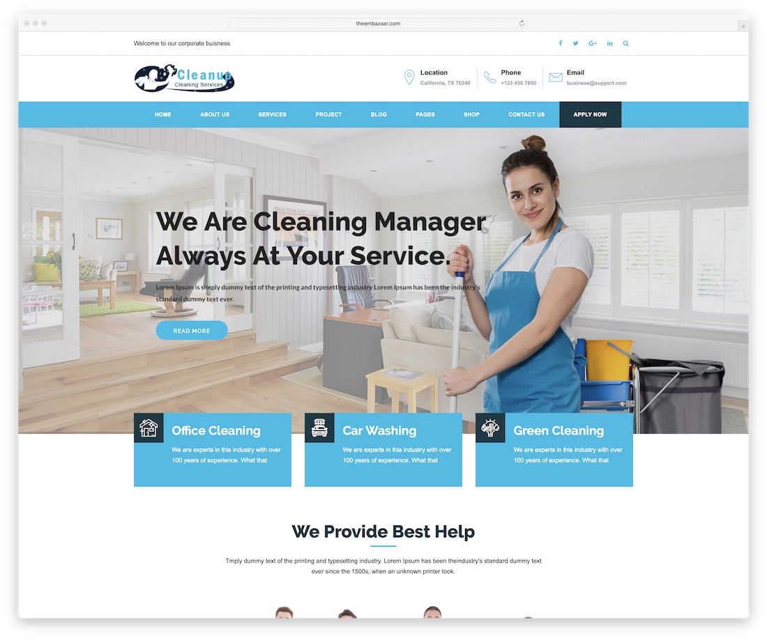 cleanup simple website template