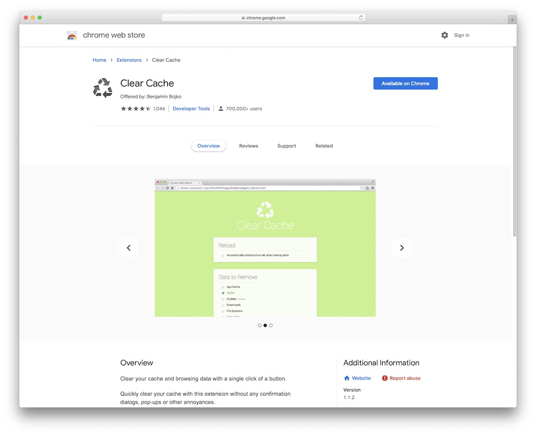 clear cache chrome extension