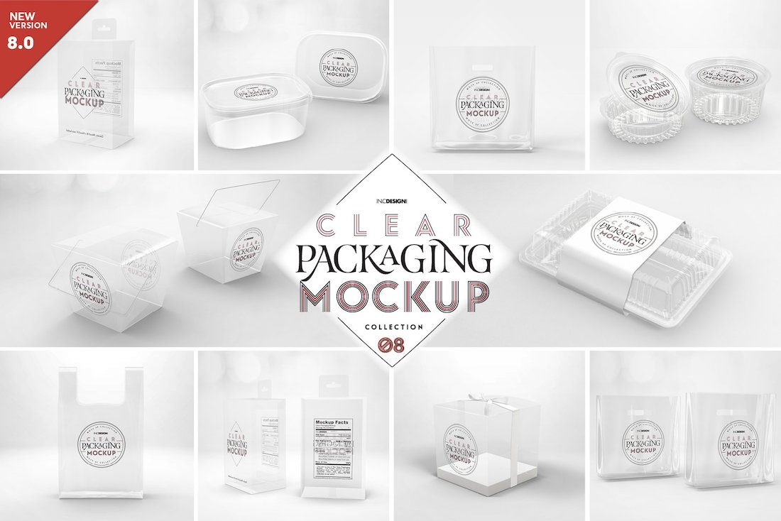 clear container packaging mockups