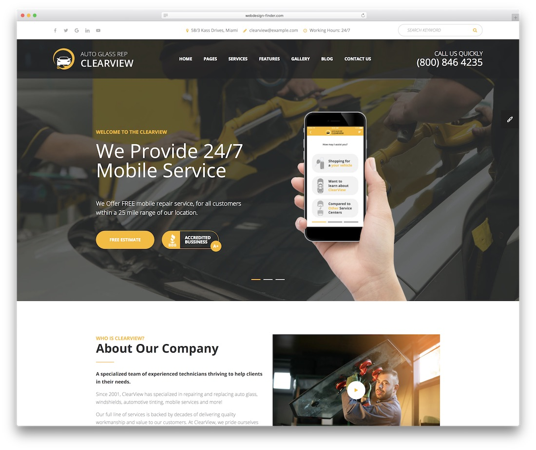 clearview automotive website template