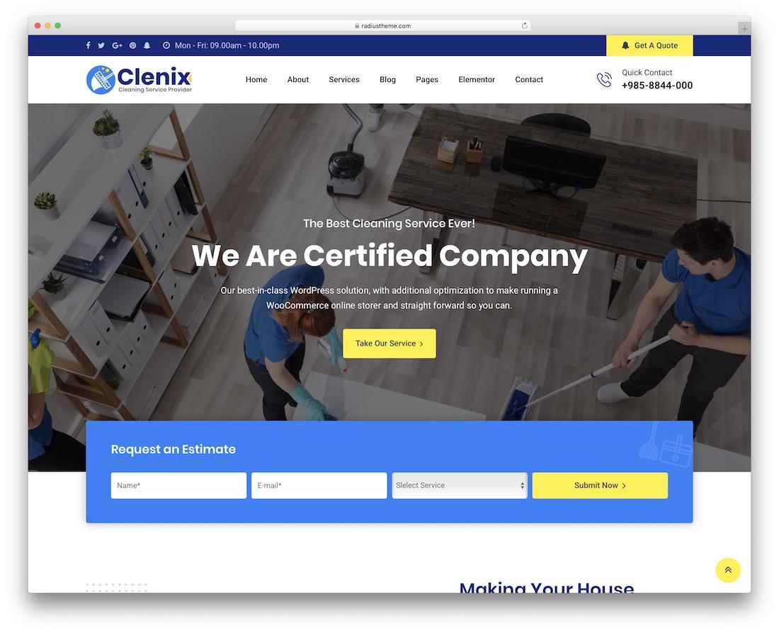 clenix small business wordpress theme