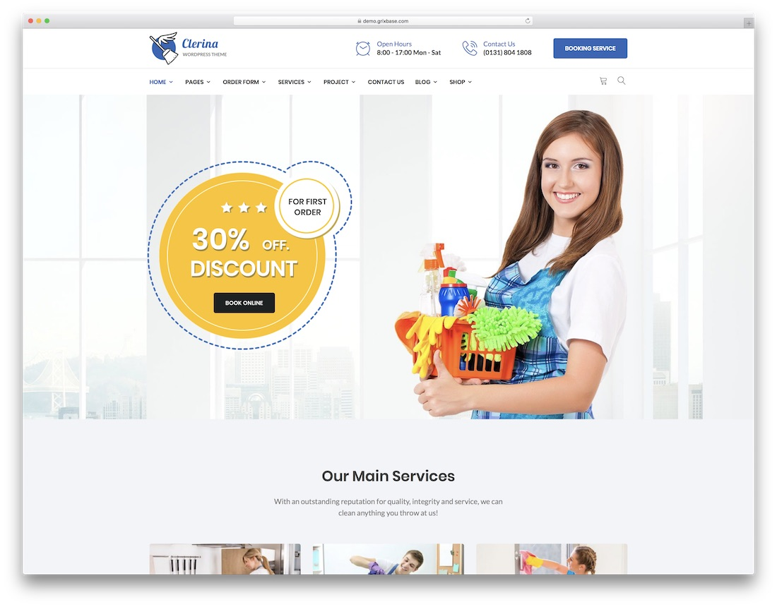 clerina cleaning company theme