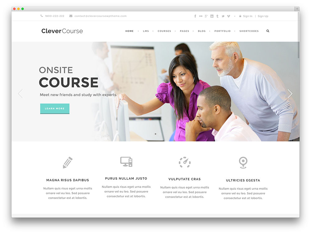 clevercourse - minimal education theme