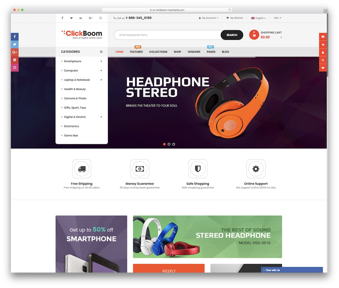 clickboom shopify technology theme