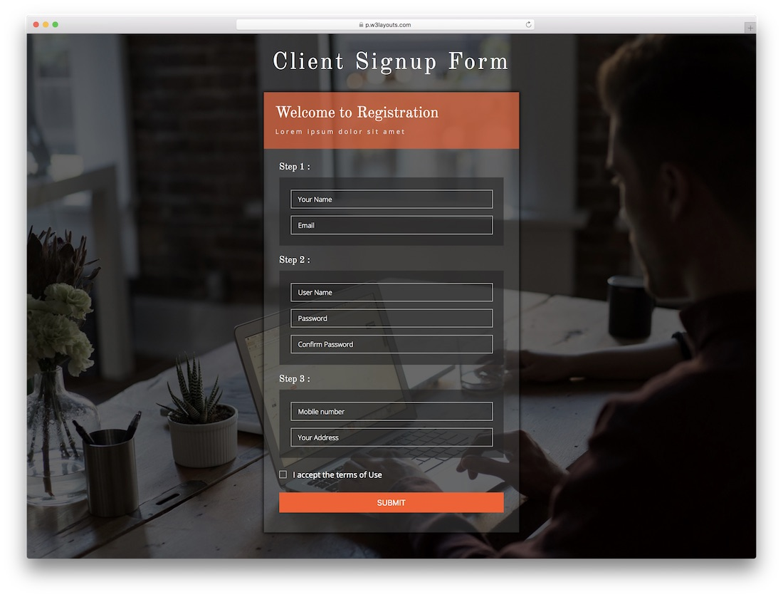 client signup free bootstrap registration form