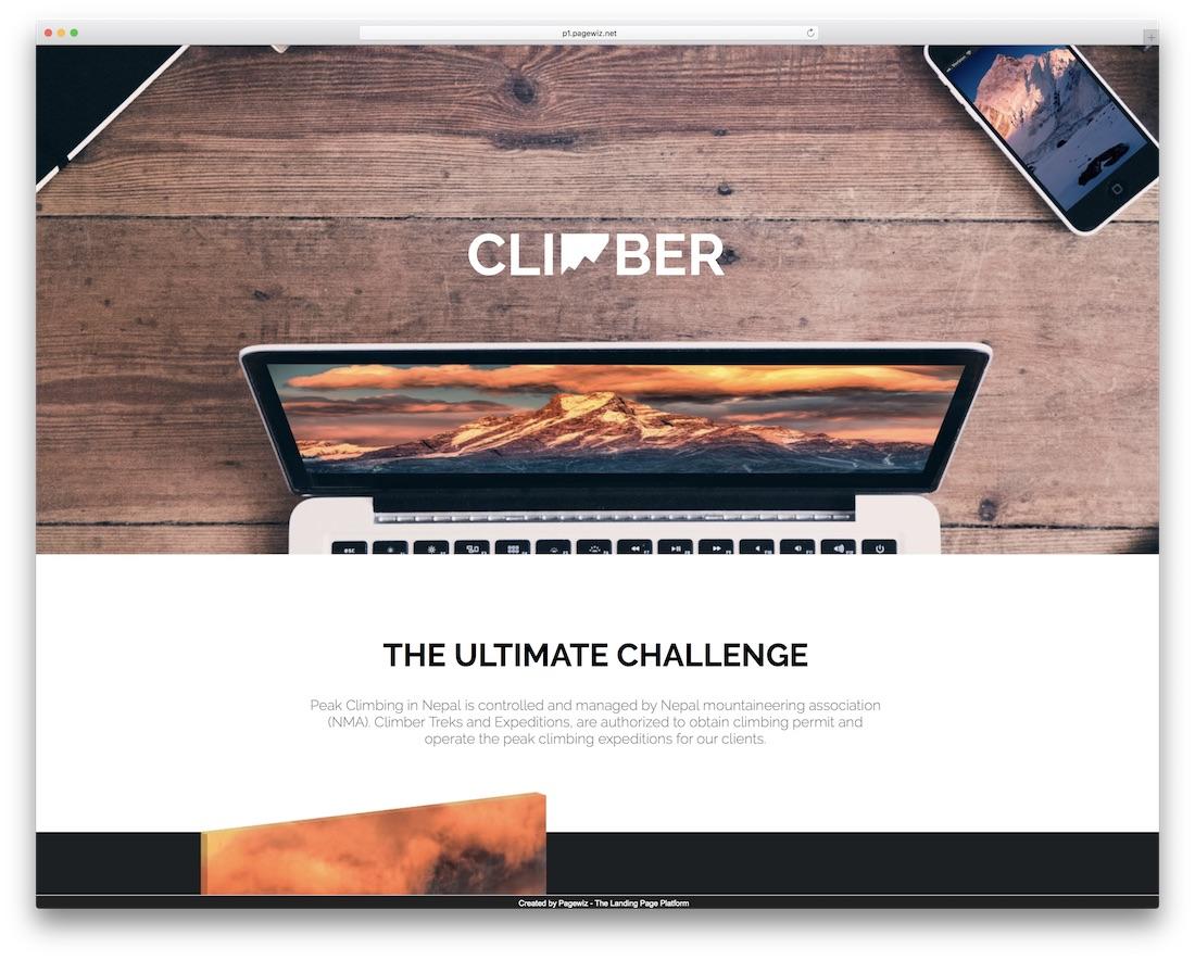 climber pagewiz marketing template