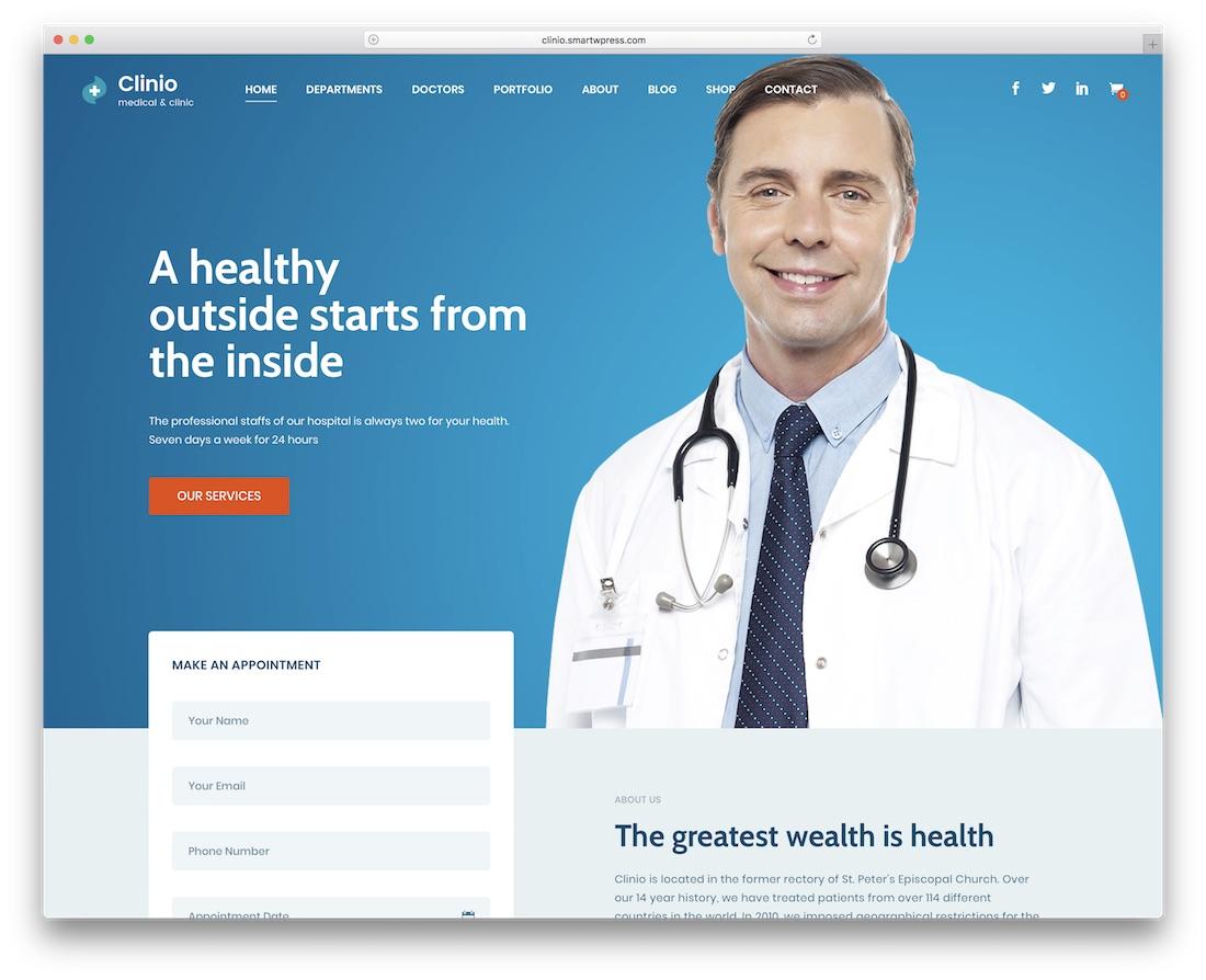 clinio doctor wordpress theme