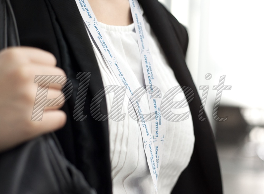 close up of a young girl wearing a lanyard mockup