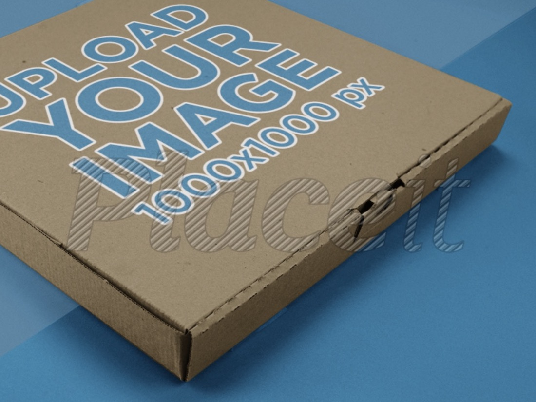 closeup mockup of a pizza box