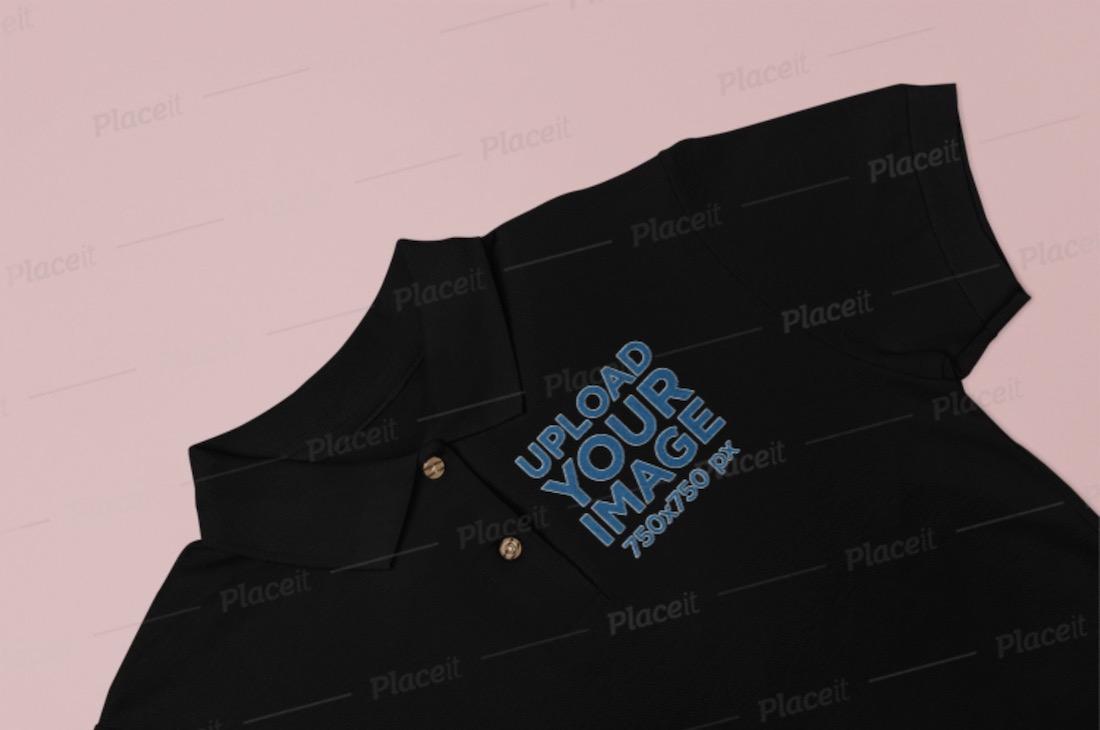 closeup of a polo shirt mockup