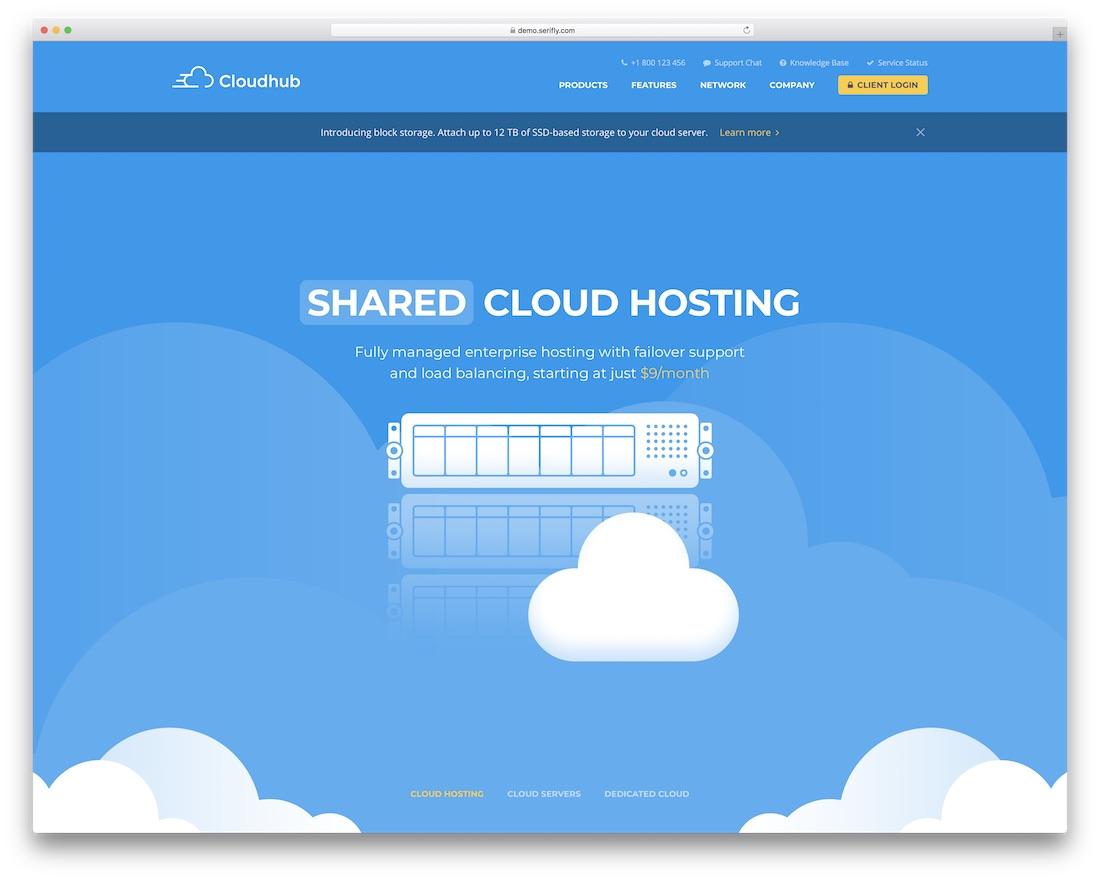 cloudhub web hosting website template