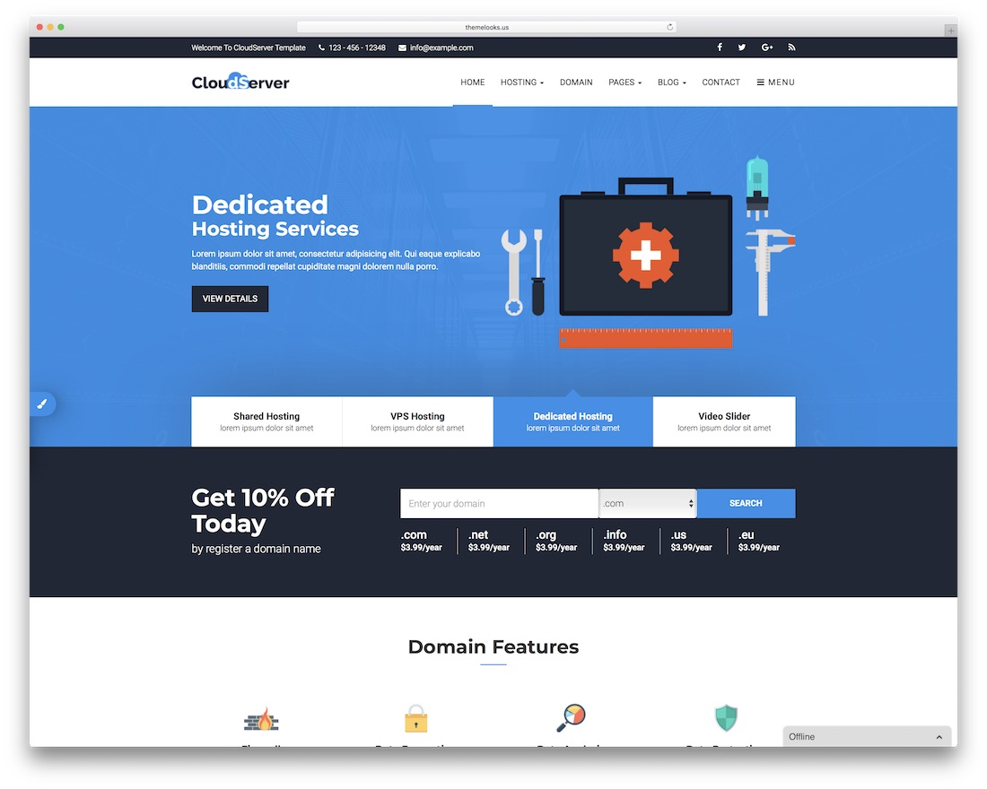 cloudserver HTML web hosting website template