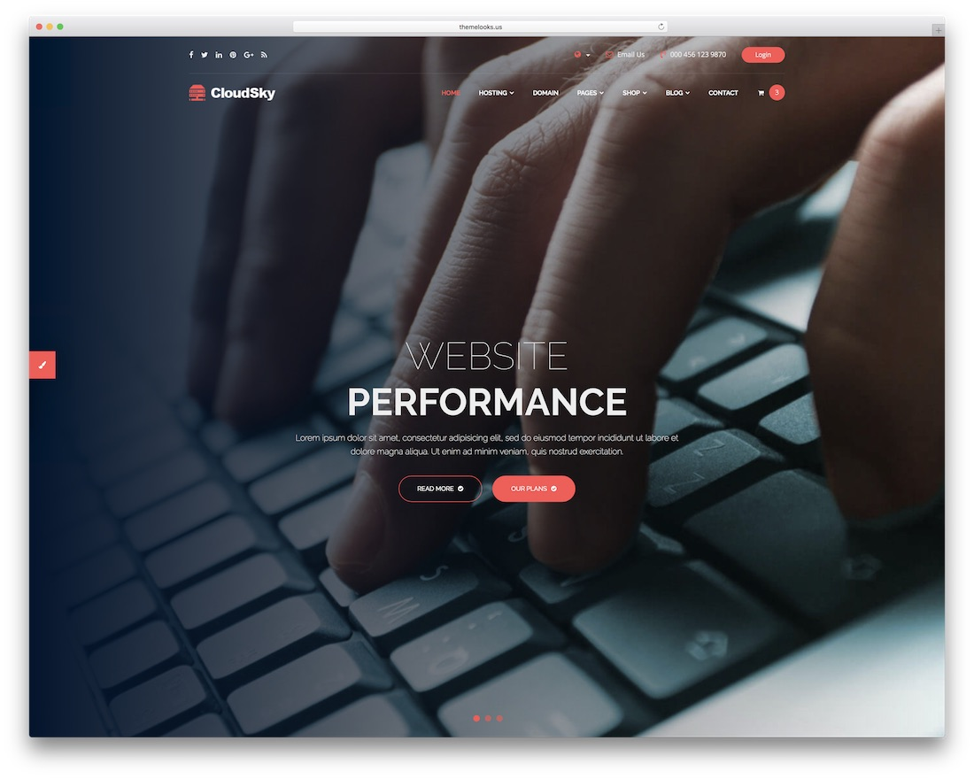 cloudsky web hosting website template
