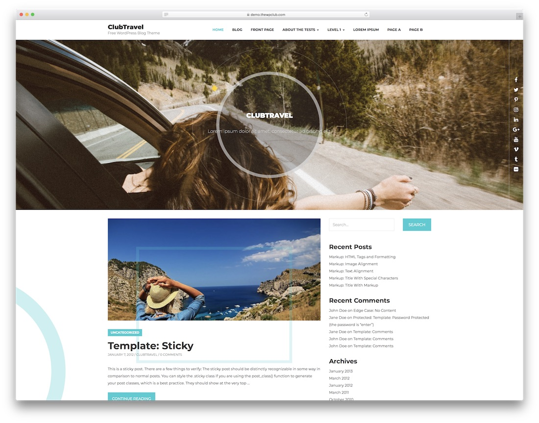 club travel website template