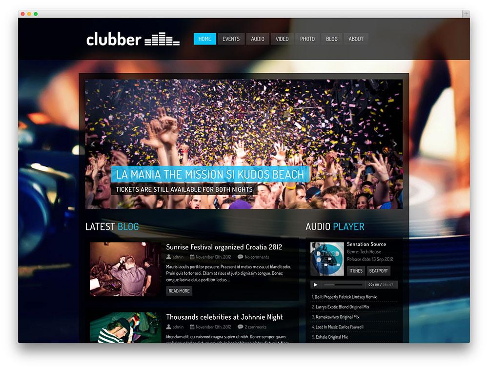 tema clubber WordPress DJ