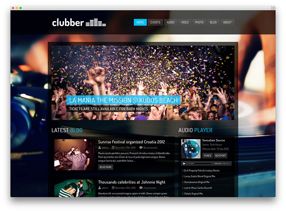 clubber late night wordpress template