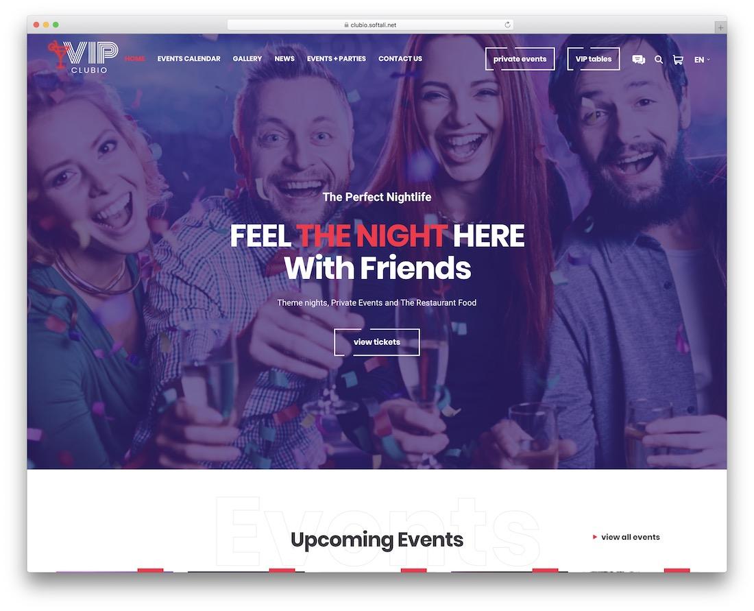 clubio wordpress nightclub theme