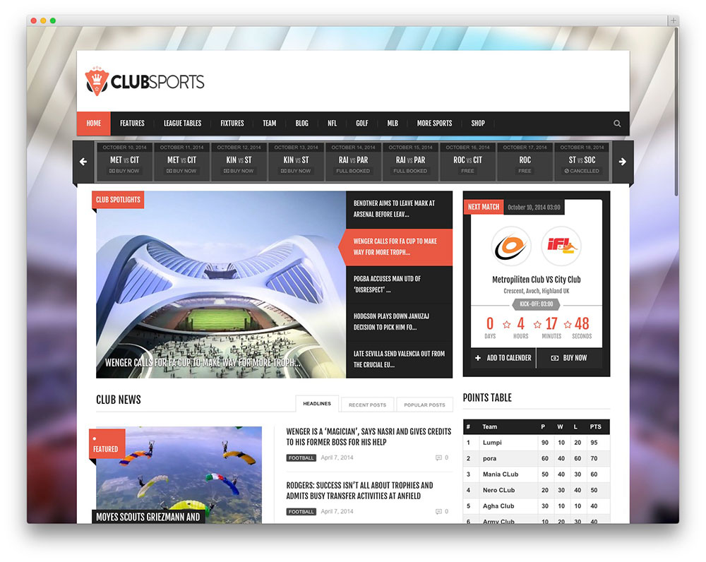clubsports - club sports template