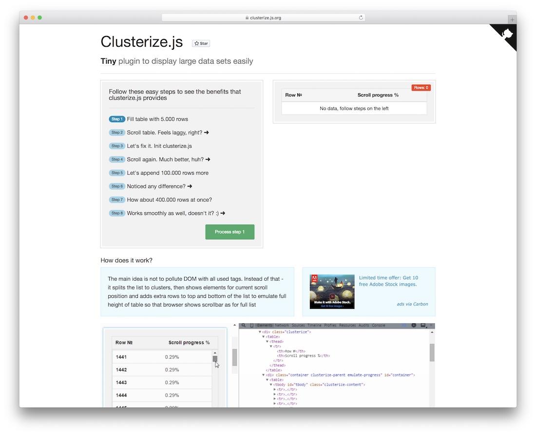 clusterize js jquery plugin