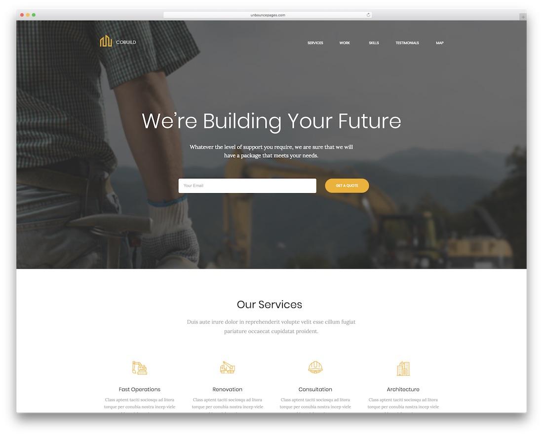 cobuild unbounce construction landing page template